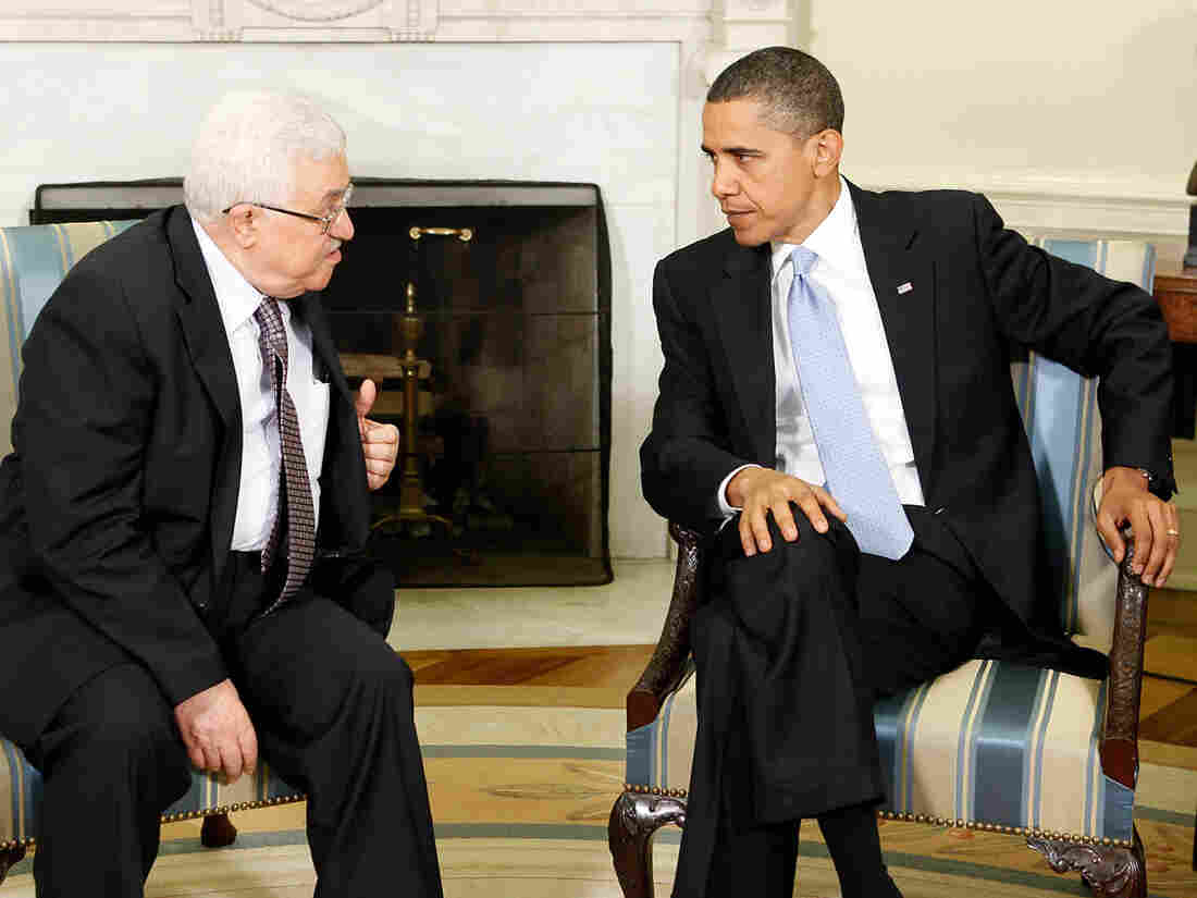 Barack Obama and Mahmoud Abbas.