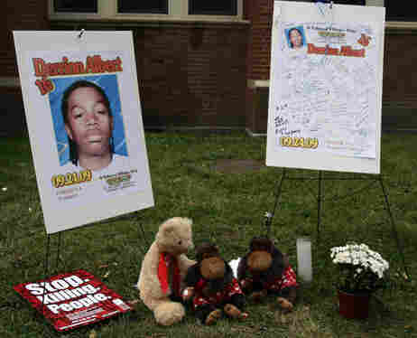 Posters serve as a memorial to 16-year-old Derrion Albert, who was beaten to death outside Fenger Hi