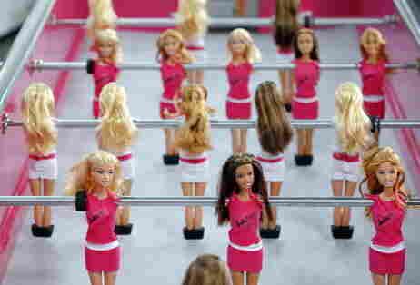 Barbie foosball table.