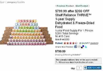 Screen capture of freeze-dried food for sale at Costco.