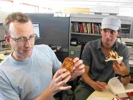 Mike and Ian eat the new KFC sandwich.