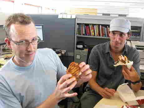 Mike and Ian eat the new KFC sandwich.
