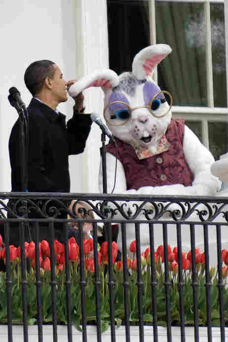 President Obama with Easter bunny.