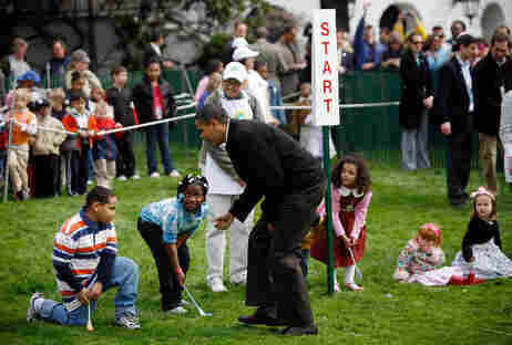 President Obama at the White House Easter Egg Roll.