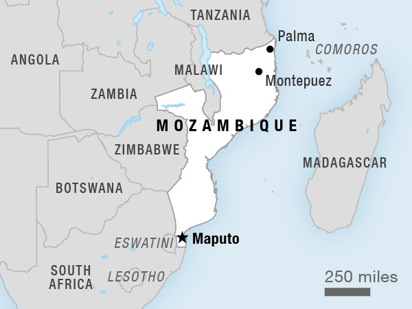 Map showing the location of Mozambique in southeastern Africa