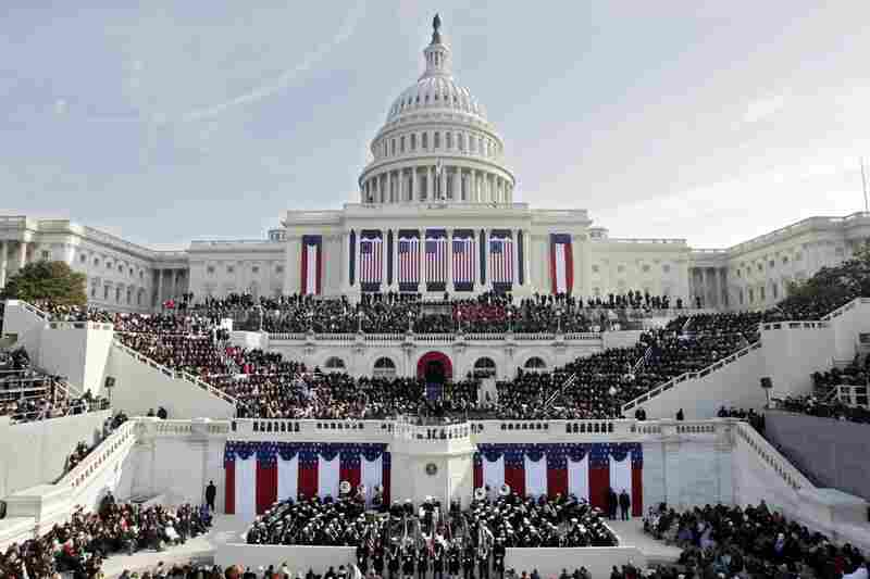People fill the West Front of the Capitol ahead of the inauguration.