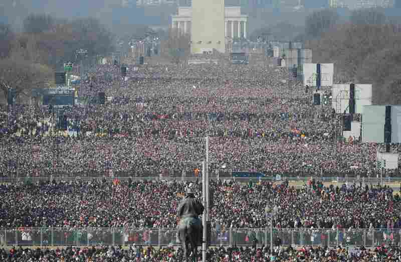Crowds fill the National Mall ahead of the inauguration of Barack Obama as the 44th president of the United States.