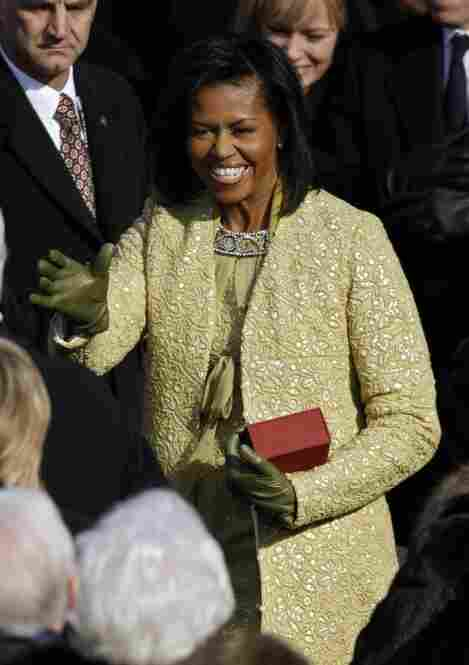 Michelle Obama arrives at the Capitol for the inauguration of her husband, Barack Obama.