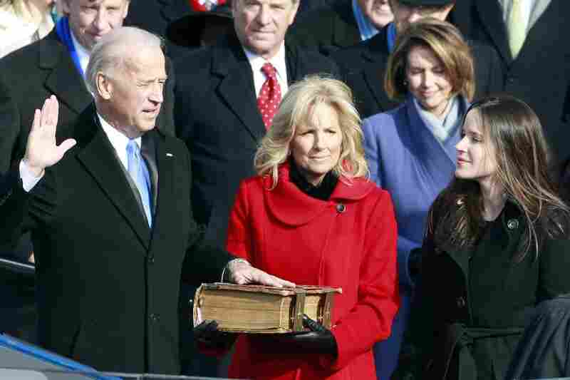 Vice President Joe Biden, with his wife, Jill, at his side, takes the oath of office administered by Justice John Paul Stevens.