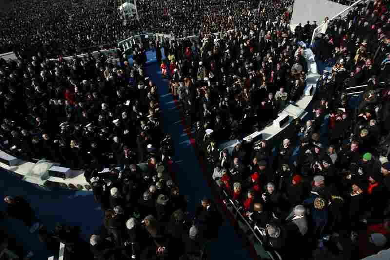 Barack Obama arrives at his inauguration on the West Front of the Capitol.