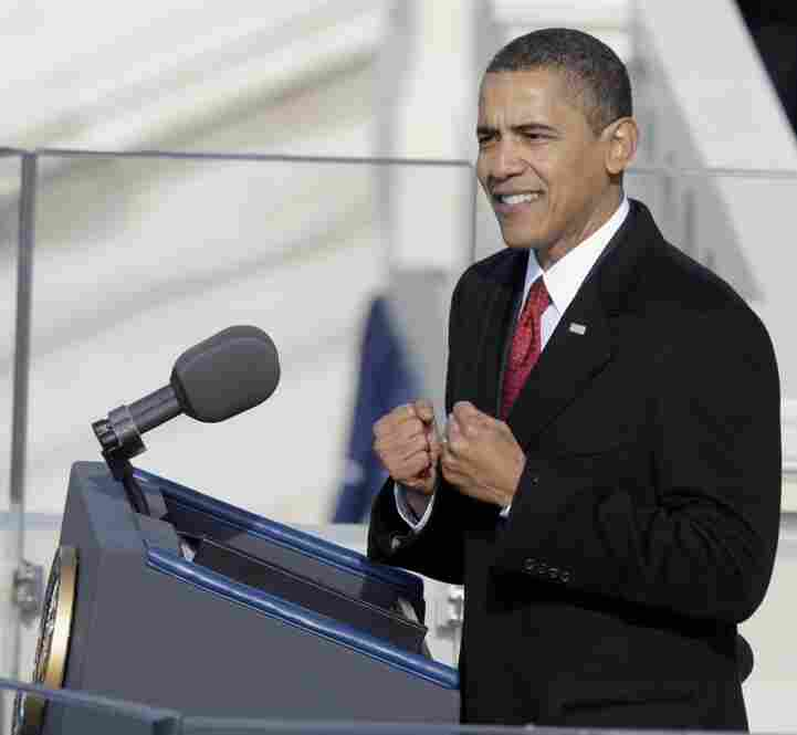 Before a crowd of thousands on the National Mall, Obama delivers his inaugural address at the Capitol.