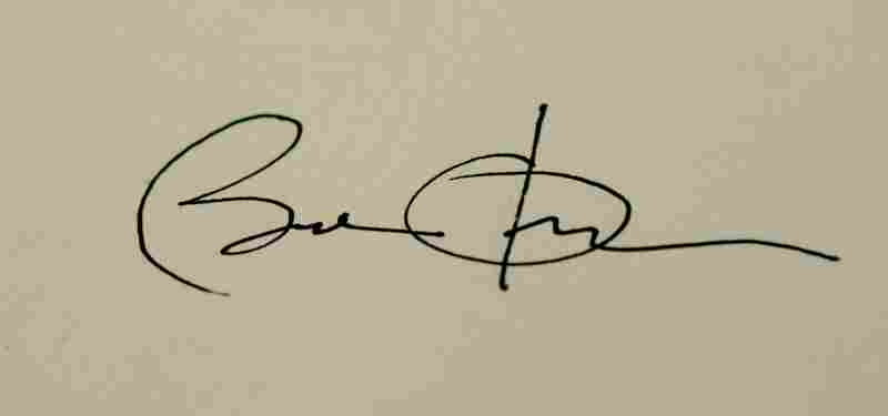 Barack Obama's signature on his first proclamation as president.