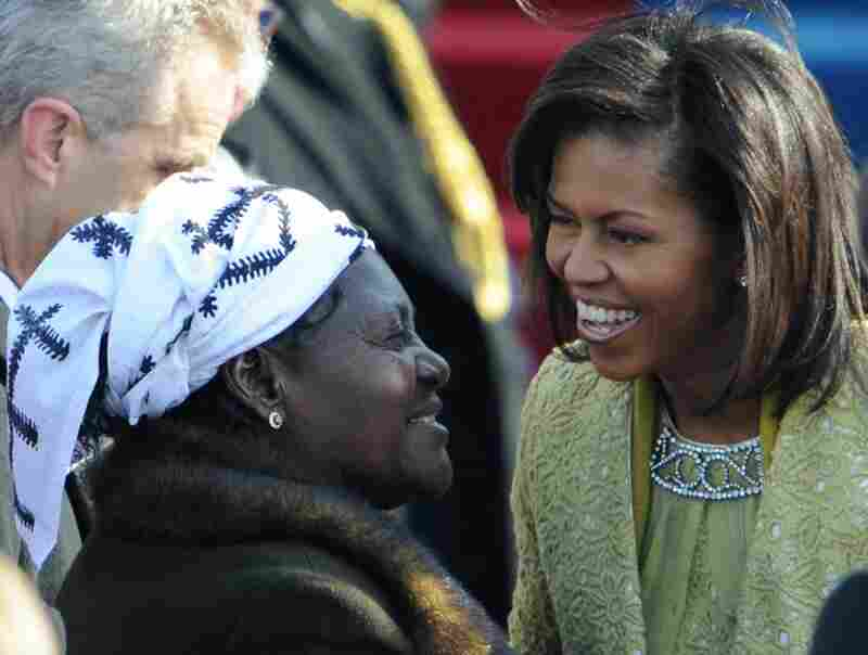 Kezia Obama (left), Barack Obama's stepmother, greets Michelle Obama as they arrive at the Capitol for Obama's inauguration.
