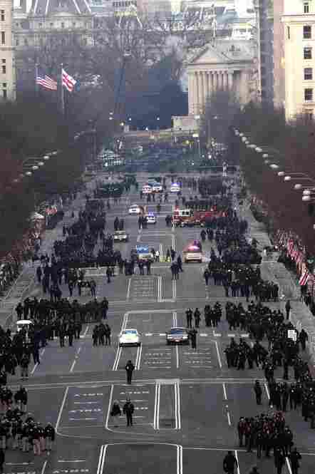 Firefighters, local police and security personnel prepare for President Obama's inaugural parade.