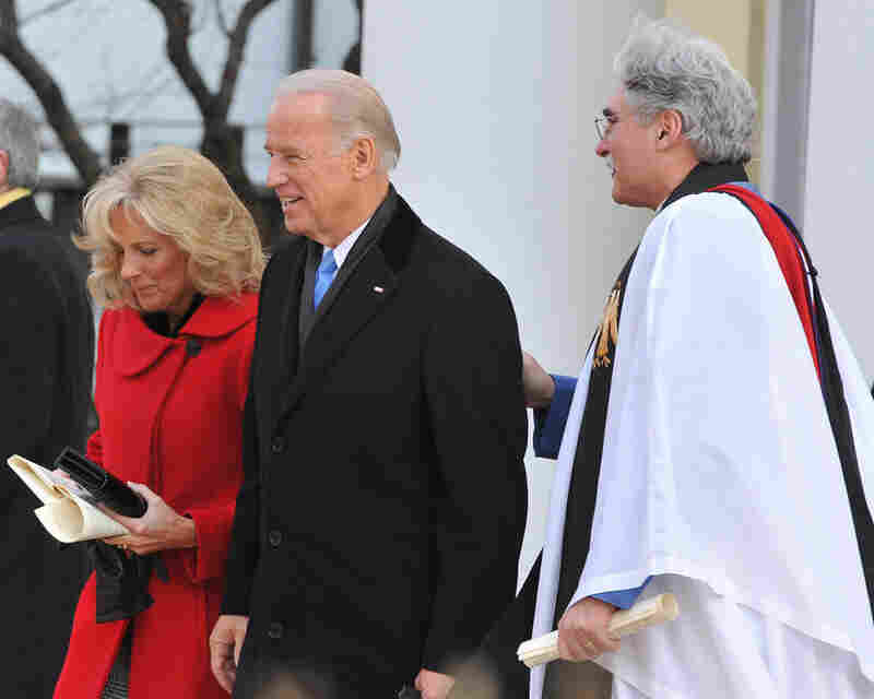 Joe Biden and his wife, Jill, leave Blair House, the White House's guest house, to travel to St. John's Church before the inauguration.
