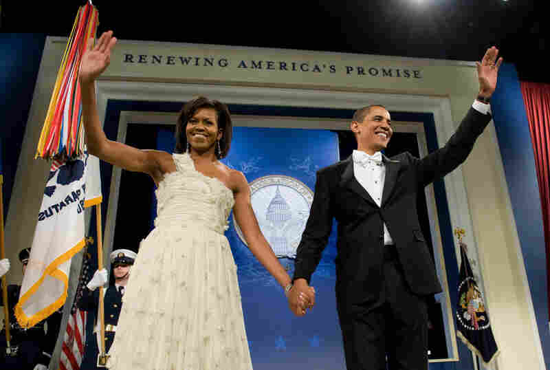 President Barack Obama and his wife, Michelle, arrive at the Obama Home States Inaugural Ball at the Washington Convention Center. It's one of 10 balls they visited Tuesday evening.