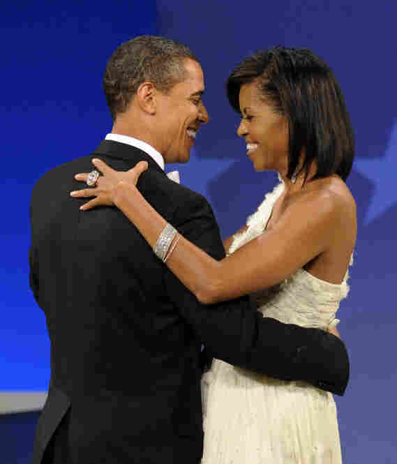 The president and first lady share a dance at the Home States ball.