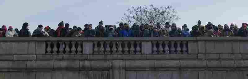 Crowds near the Capitol await the inauguration of Barack Obama.