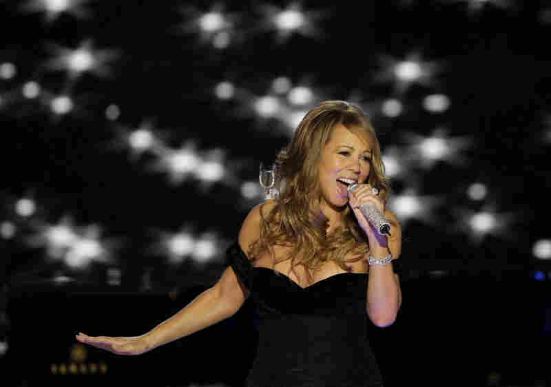Mariah Carey belts out a song at the Neighborhood Inaugural Ball, also at the convention center. She was among many performers, including Jay-Z, Stevie Wonder, Sting, Shakira and Alicia Keyes.