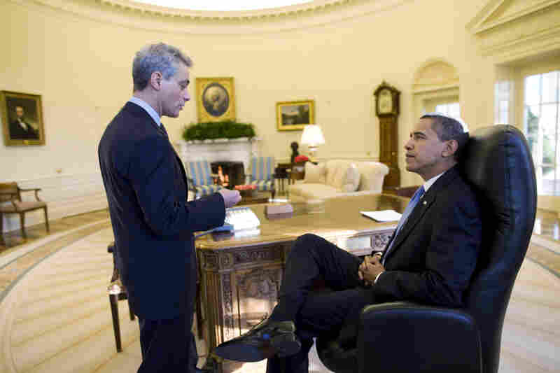 President Obama talks with Chief of Staff Rahm Emanuel in the morning.