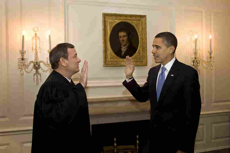 Because of the slight fumble on Inauguration day, Chief Justice John G. Roberts Jr. again administers the oath of office to Obama to ensure constitutionality.