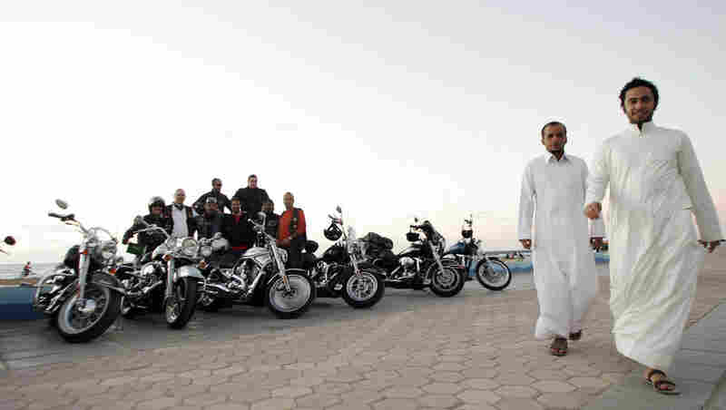 Harley-Davidson fans span the globe and many are members of the Harley Owners Group (HOG). Shown here are HOG members in Saudi Arabia.