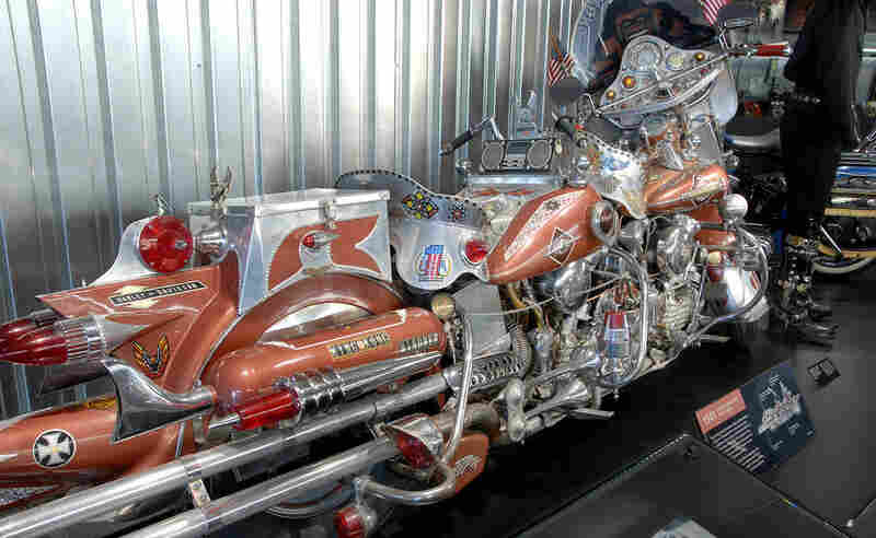 """Customization is a big part of the Harley culture. This """"King Kong,"""" which has an image of the giant ape above one of its two handlebars, stretches 13 feet and weighs 1,000 pounds."""