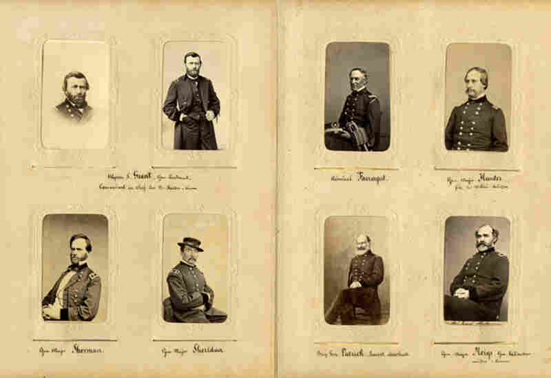 The photo album includes Union military leaders: Gen. Ulysses S. Grant (two photos at upper left), Gen. Philip Henry Sheridan (bottom row, second from left) and Adm. David Farragut (upper row, second from right).