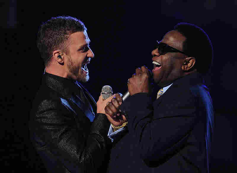 Justin Timberlake and Al Green harmonized on the Grammy performance stage.