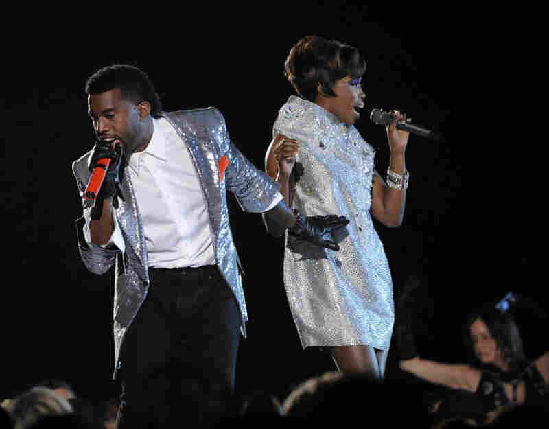 "Grammy nominees Kanye West and Estelle performed ""American Boy."""