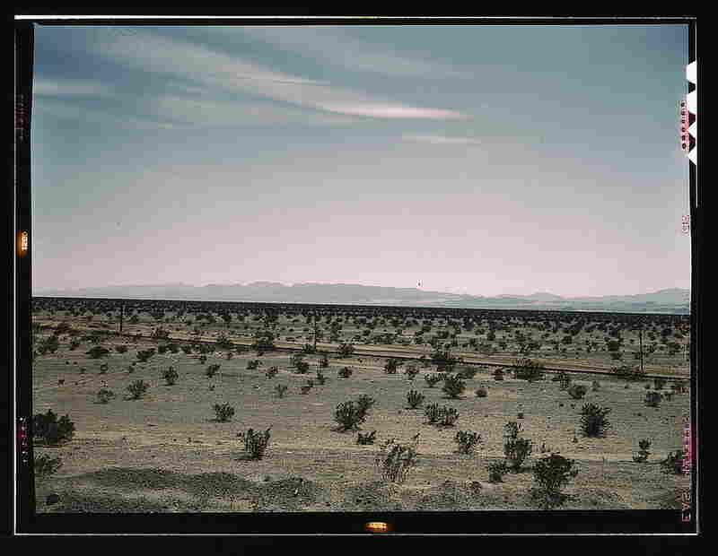Mojave Desert country crossed by the Santa Fe railway line in Cadiz, Calif.  By Jack Delano, March 1943.