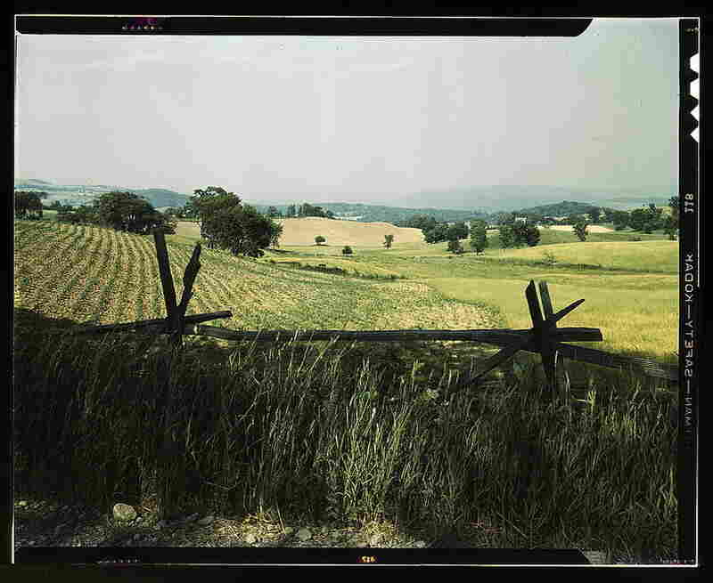 Farmland in the Taconic range, near the Hudson River Valley in New York state.  By John Collier, June 1943.