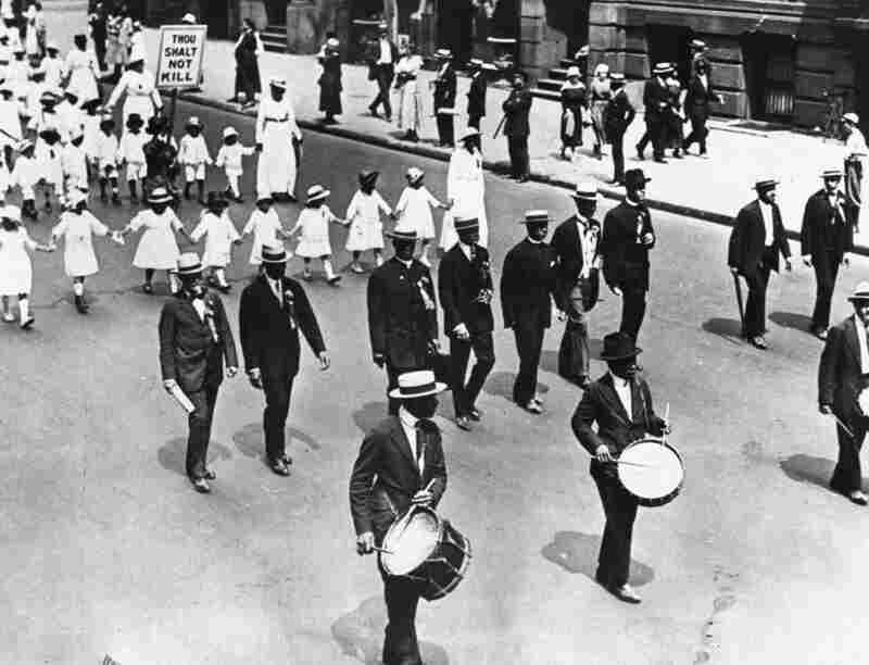 The NAACP has a long history of protest and civil disobedience. Marchers protest lynching laws in July 1917.