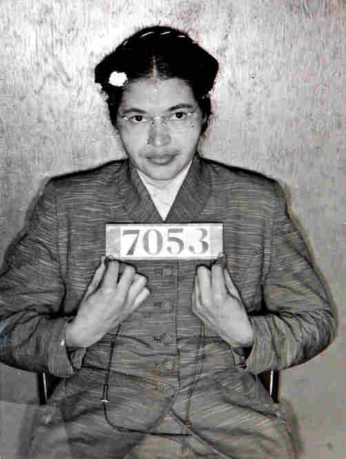 Rosa Parks is photographed at the Montgomery (Ala.) Sheriff's Department after her arrest for civil disobedience. Her refusal to give up a bus seat for a white passenger in 1955 sparked a bus boycott in Montgomery and became a symbol of the civil rights movement.