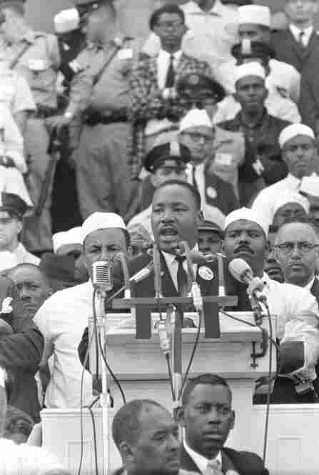 "The Rev. Martin Luther King Jr., civil rights leader and head of the Southern Christian Leadership Conference, delivers his famous ""I Have A Dream"" speech at the Lincoln Memorial in Washington on Aug. 28, 1963.  He was assassinated five years later."