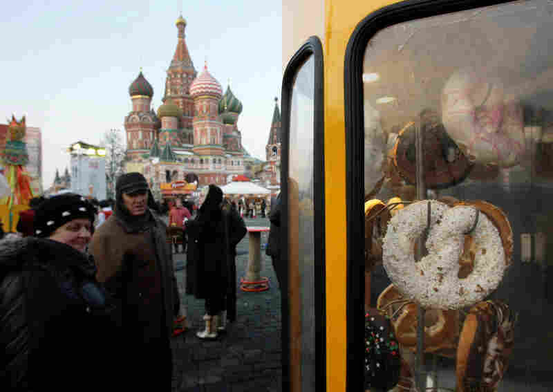 Calatchi, or festive loafs, hang in a booth just outside Moscow's Kremlin. They're part of Maslenitsa, sometimes known as Pancake Week, a folk celebration with roots in pagan and Christian traditions.