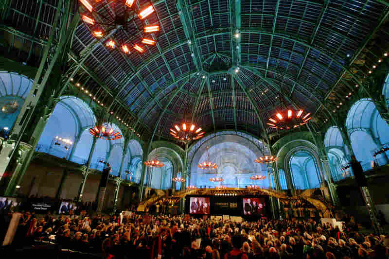A view of the Grand Palais in Paris on Monday during the auction by Christie's. The auction grossed a record $484 million over three days.