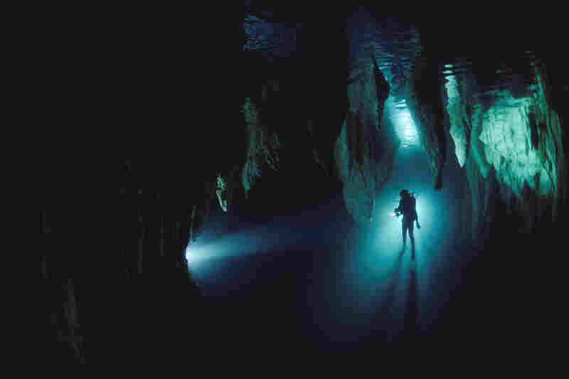 Diver in Chandelier Cave, Palau, Micronesia