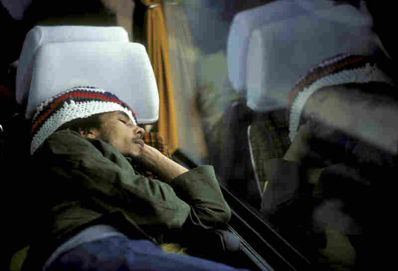 The following images were taken during Marley's Exodus Tour in May 1977.  Here he sleeps on a tour bus to The Hague, Netherlands.