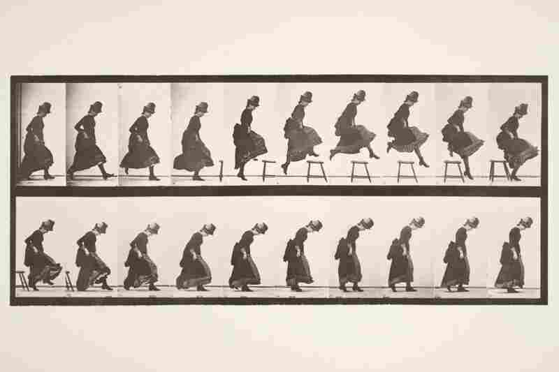 The strangely spelled Eadweard J. Muybridge was an English photographer in the late 19th century, most famous for his use of early cameras to capture motion.  This image, circa 1880s, demonstrates the astounding feat of a woman jumping over a stool. Image courtesy George Eastman House Collection