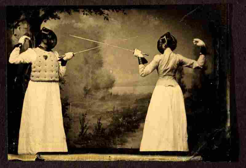 Women fence and display their daunting musculature in an undated photograph, circa 1885. Image courtesy George Eastman House Collection