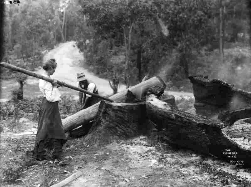 """Regardless of where this undated image, titled """"The Pioneer's Wife,"""" was taken, one thing is certain: Even ladies in skirts can get their hands dirty. Image courtesy Powerhouse Museum Collection"""