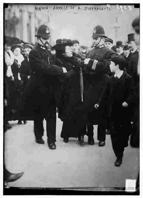 Circa 1910, London was suffragette city.  Not until 1920 were women granted the right to vote, although restrictions lasted until the 1960s for African-Americans.  And not until 1928 was universal suffrage granted in the United Kingdom. Here, officials arrest a woman for her intolerable proposition that all people are created equal.  Image courtesy Library of Congress