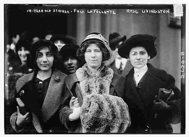 Circa 1912, a 14-year-old striker (left) poses with Fola La Follette (center), activist and daughter of Wisconsin Gov. and U.S. Sen. Robert M. La Follette Sr., and Rose Livingston, former prostitute turned social reformer. Image courtesy Library of Congress
