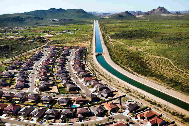 The Granite Reef Aqueduct, a man-made canal that has the carrying capacity of 1,800 cubic feet per second, diverts water from the Colorado River at Lake Havasu to central and southern Arizona. This aqueduct is part of the $4 million Central Arizona Project, designed to bring water into arid municipalities including Phoenix and Tucson, and irrigates farmland in central Arizona.