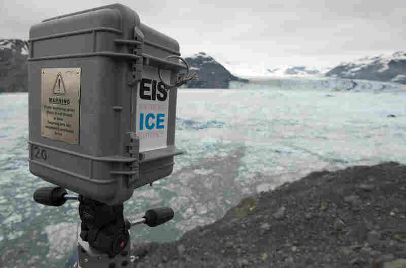 Digital cameras were carefully encased and placed all around the world to produce nearly three years of time-lapse imagery.  This box was stationed above Columbia Glacier in Alaska.  Watch the cameras being built and installed in the video below.