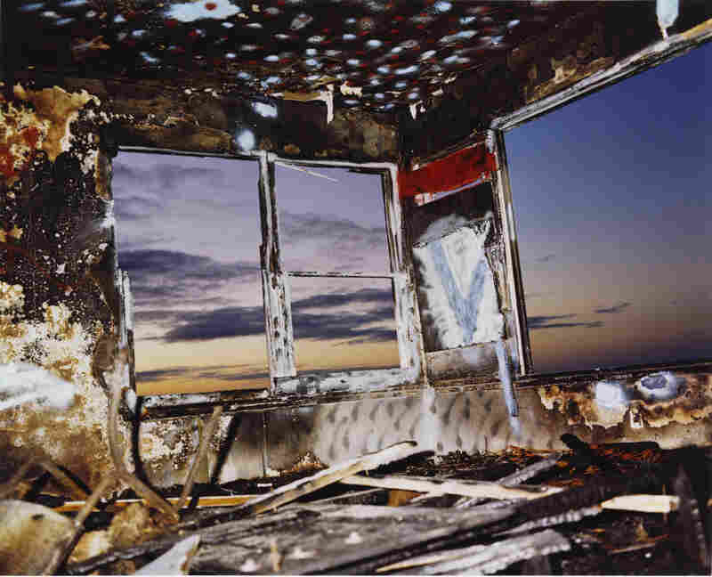 "Zuma #29, 1978John Divola, too, has a great sense of humor. In a self-portrait series called ""As Far as I Could Get,"" he sets the timer on his camera and runs away as fast as he can. He's interested in decay and remains, and often photographs collapsed structures and abandoned buildings, such as this image from the Zuma series, taken in California. (Dye transfer print, courtesy The Museu..."