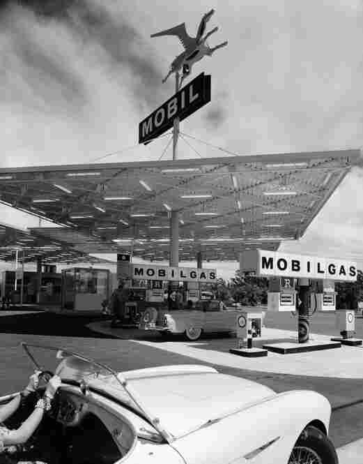 Mobile Gas Station, Anaheim, Calif., 1956.