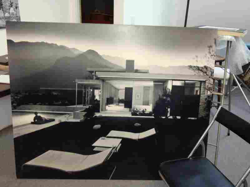 This print of the Kaufman House in Shulman's office shows his fondess for not only the tangible, but also for the massive.