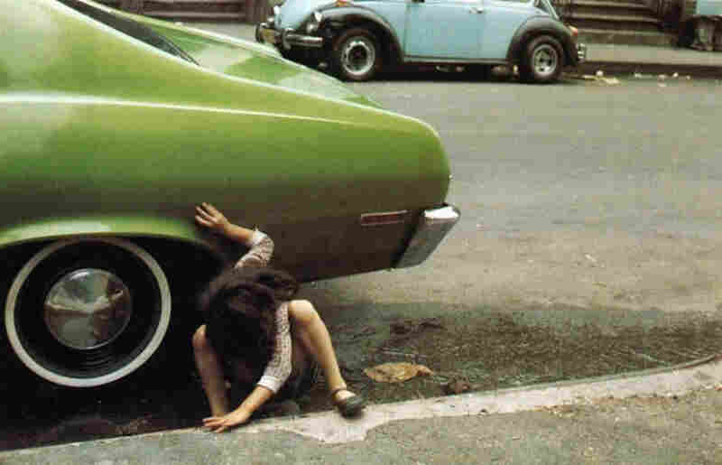Girl/green car, New York, 1980